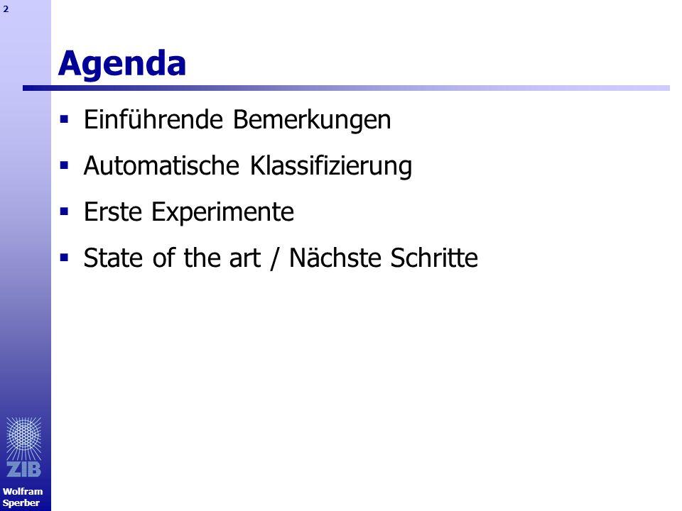 Agenda Einführende Bemerkungen Automatische Klassifizierung