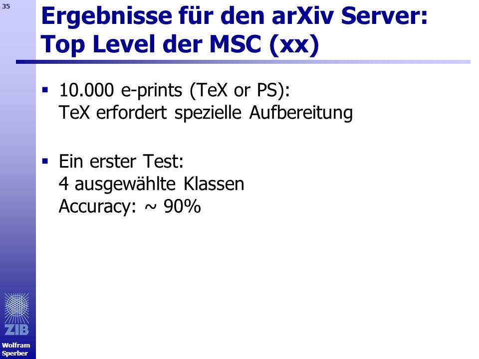Ergebnisse für den arXiv Server: Top Level der MSC (xx)
