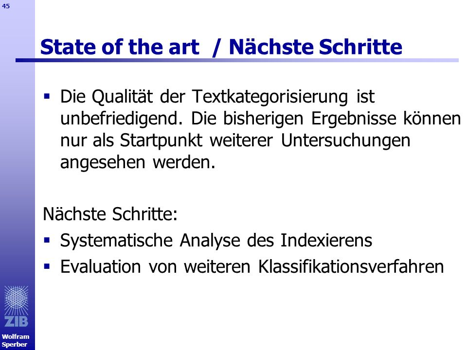 State of the art / Nächste Schritte