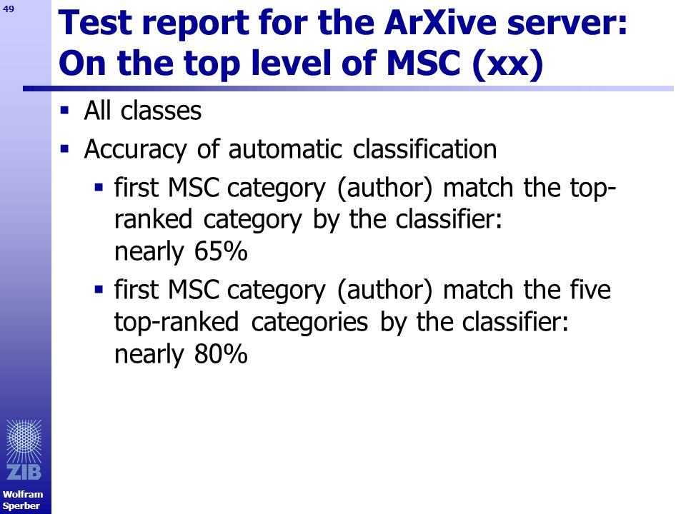 Test report for the ArXive server: On the top level of MSC (xx)