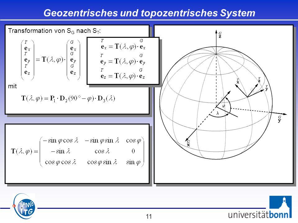 Geozentrisches und topozentrisches System