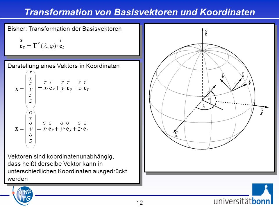 Transformation von Basisvektoren und Koordinaten