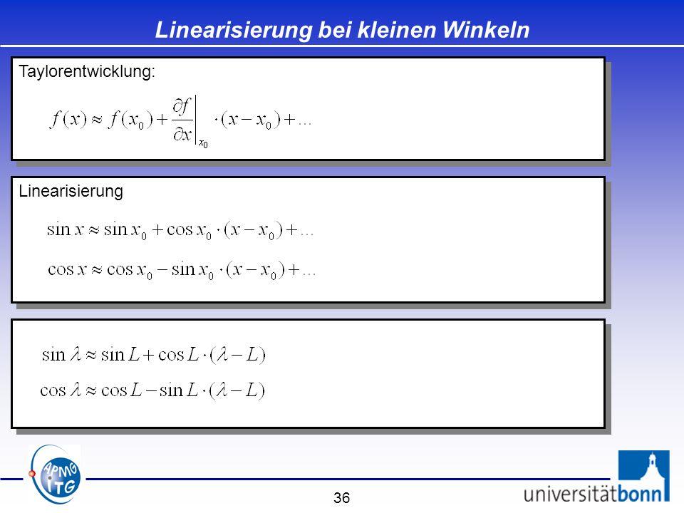 Linearisierung bei kleinen Winkeln