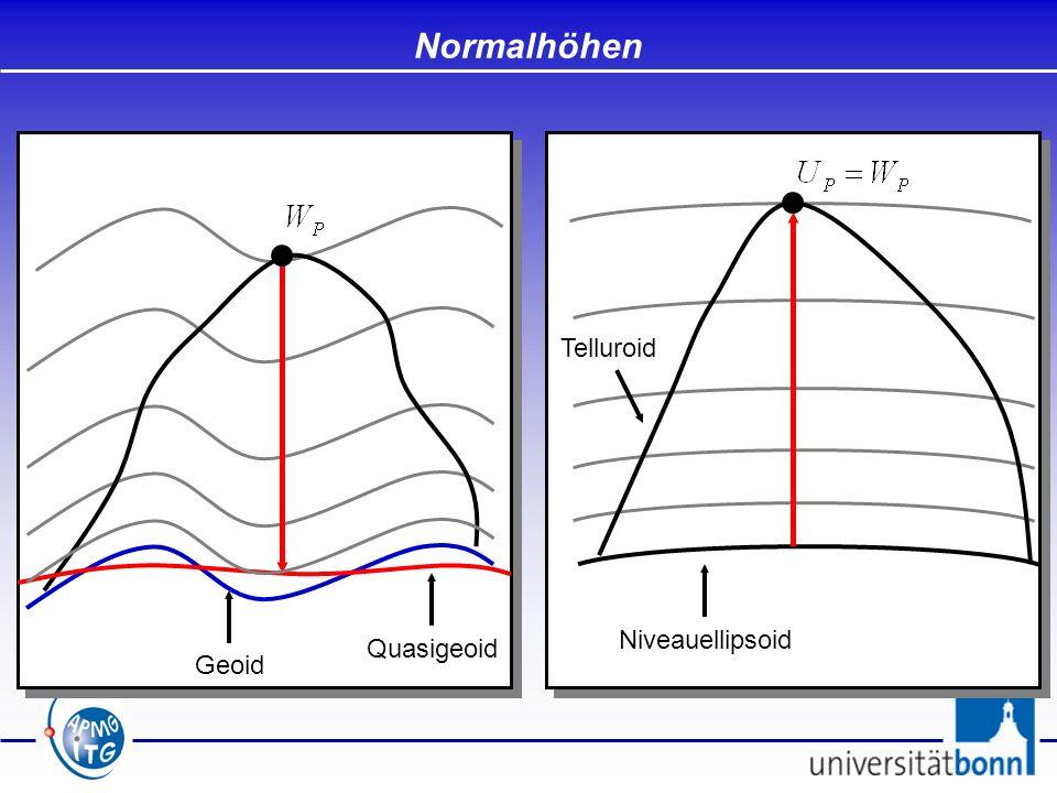 Normalhöhen Niveauellipsoid Telluroid Quasigeoid Geoid