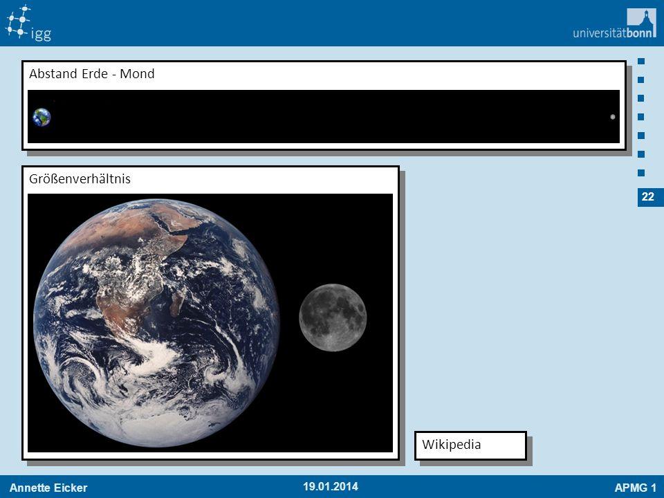 Abstand Erde - Mond Größenverhältnis Wikipedia 27.03.2017