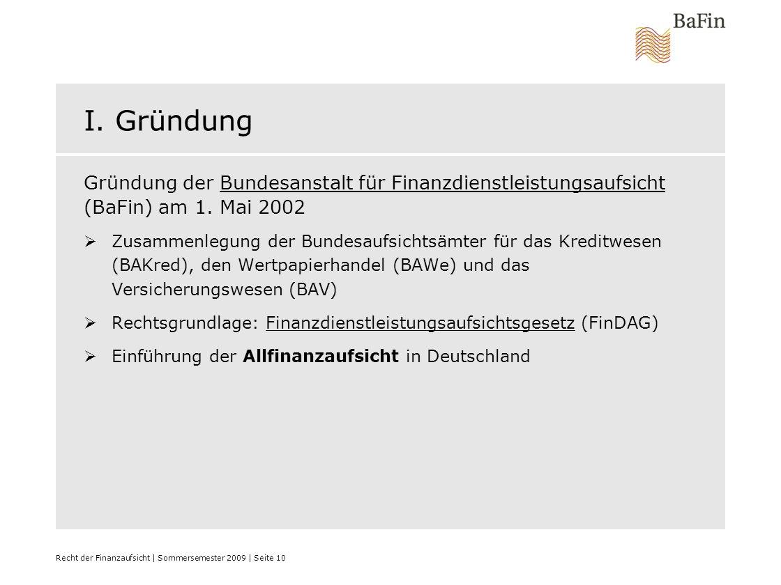 I. Gründung Gründung der Bundesanstalt für Finanzdienstleistungsaufsicht (BaFin) am 1. Mai 2002.