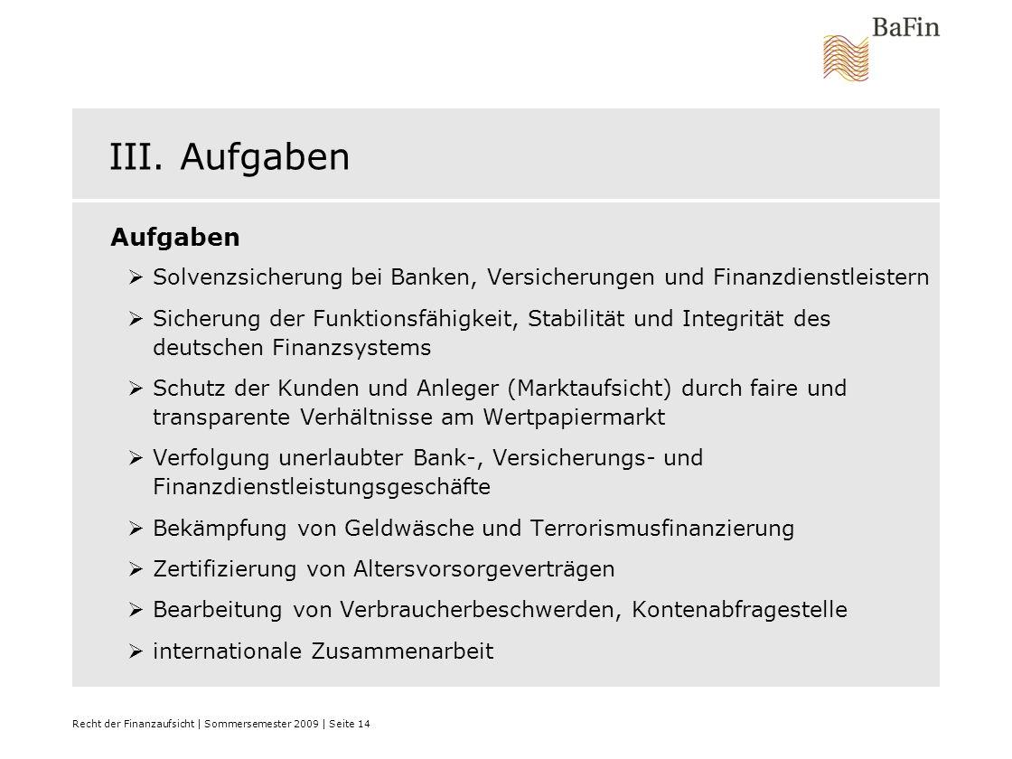 III. Aufgaben Aufgaben. Solvenzsicherung bei Banken, Versicherungen und Finanzdienstleistern.