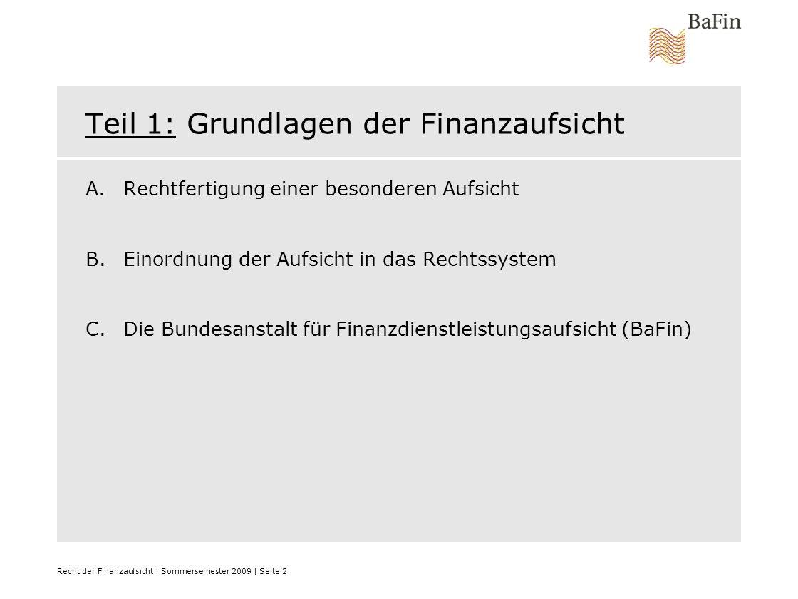 Teil 1: Grundlagen der Finanzaufsicht