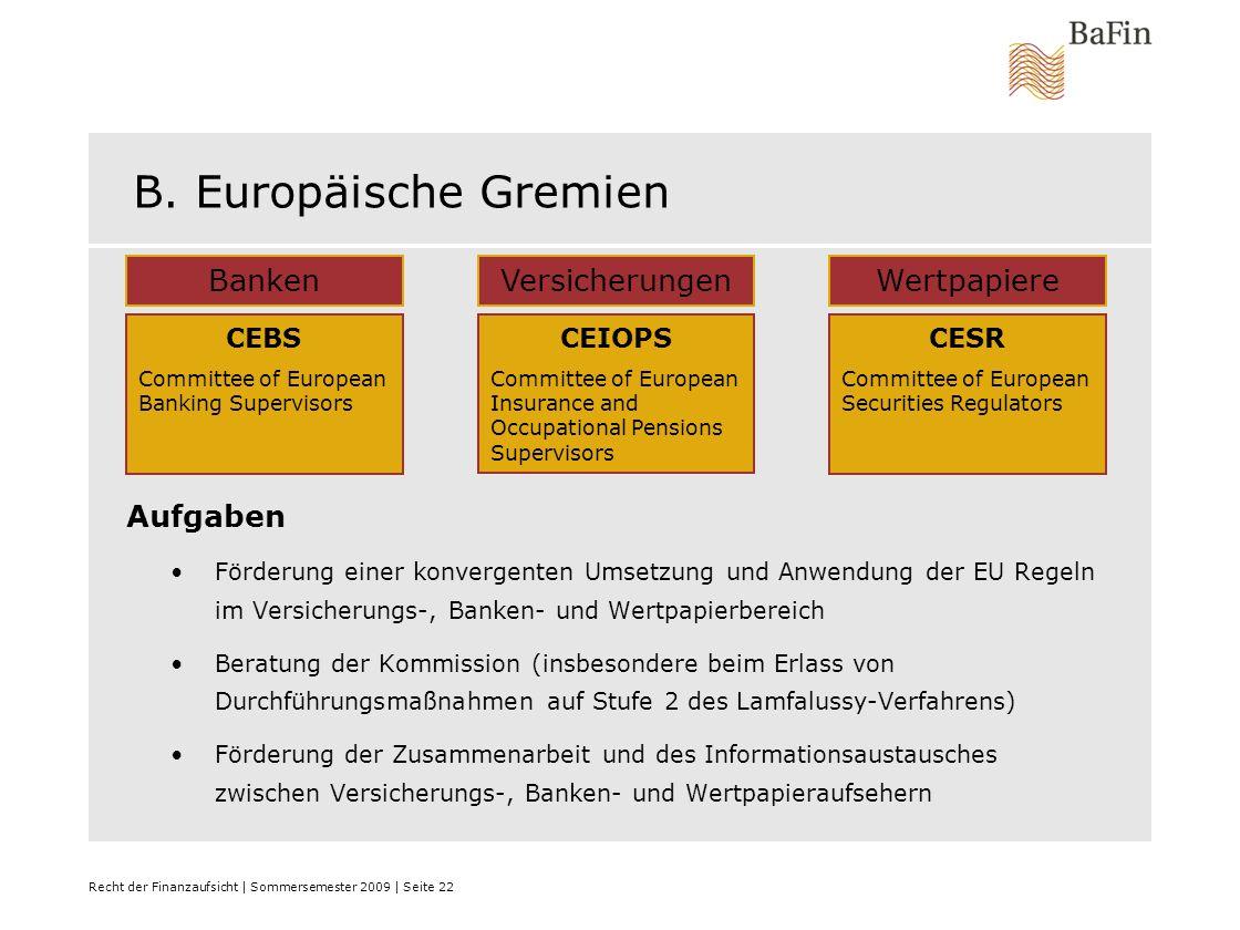 B. Europäische Gremien Banken Versicherungen Wertpapiere Aufgaben CEBS