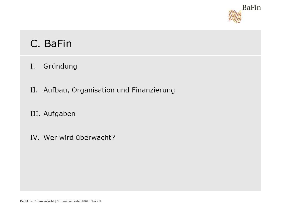 C. BaFin Gründung Aufbau, Organisation und Finanzierung Aufgaben