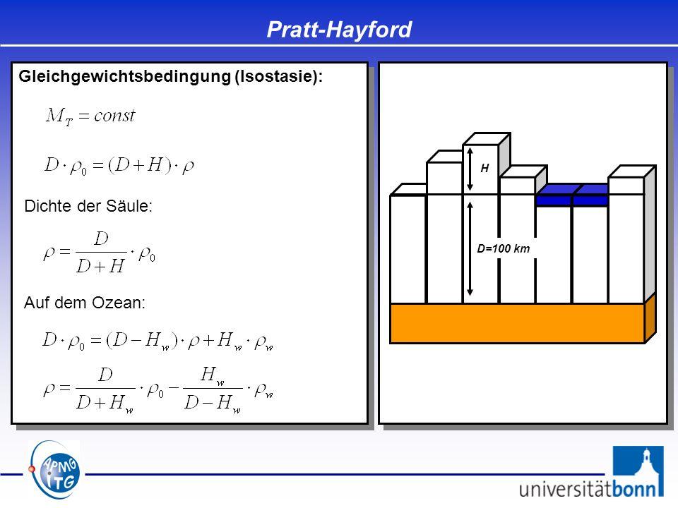 Pratt-Hayford Gleichgewichtsbedingung (Isostasie): Dichte der Säule: