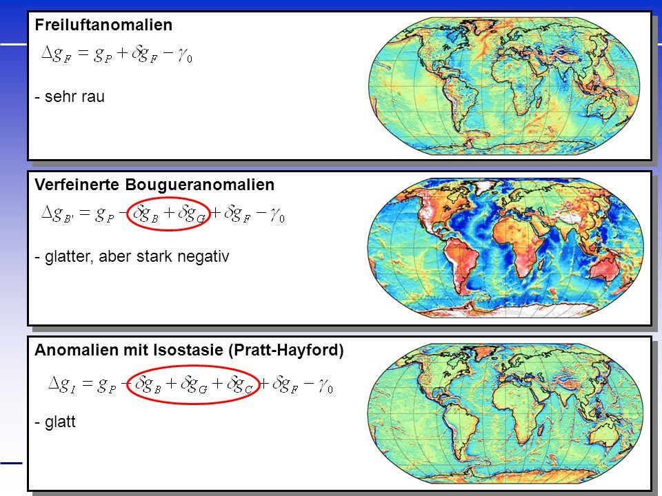Freiluftanomalien - sehr rau. Verfeinerte Bougueranomalien. - glatter, aber stark negativ. Anomalien mit Isostasie (Pratt-Hayford)
