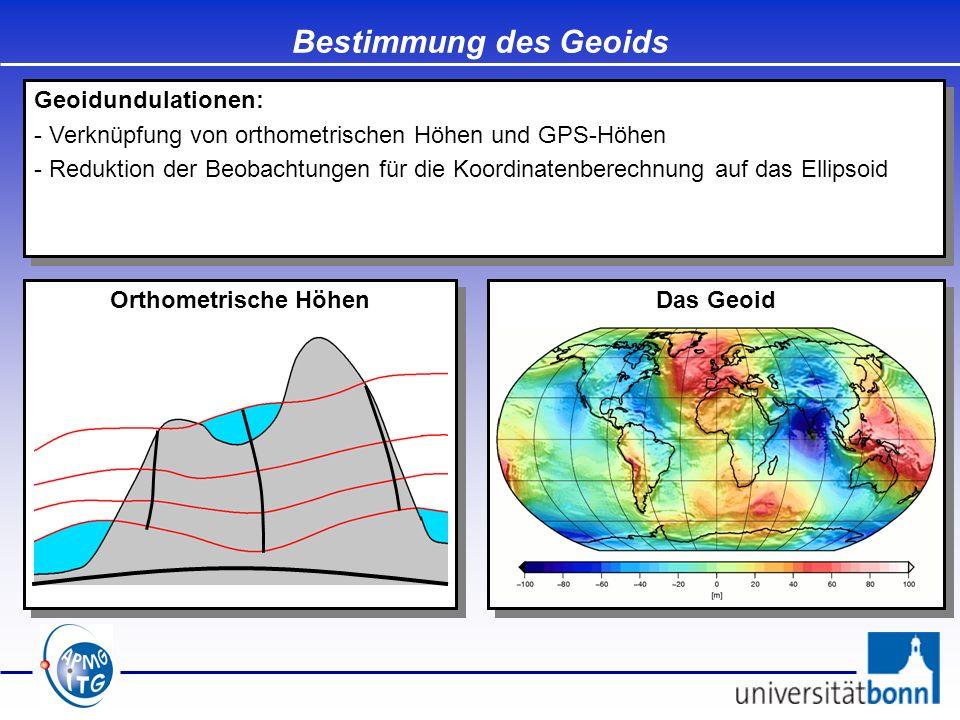 Bestimmung des Geoids Geoidundulationen:
