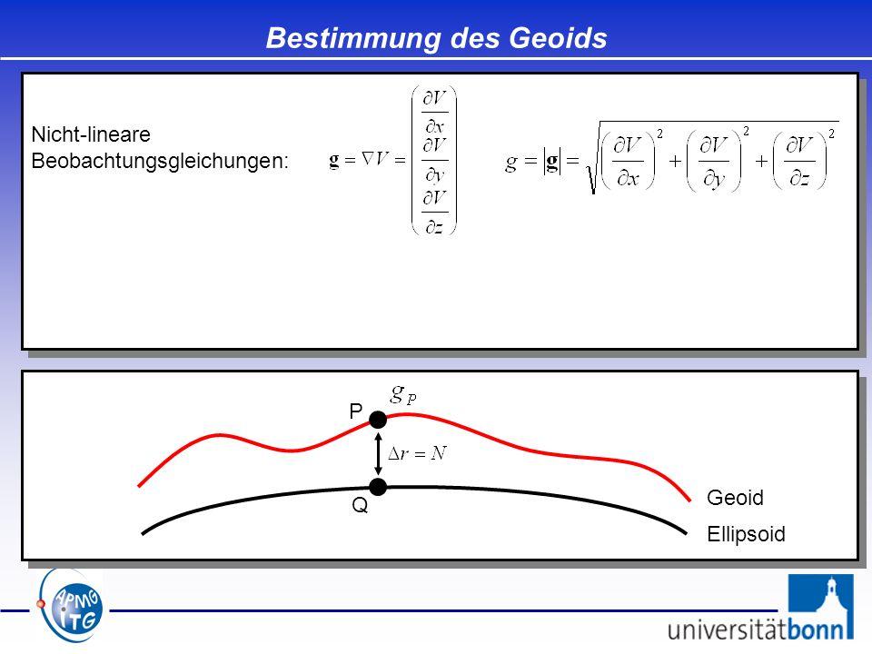 Bestimmung des Geoids Nicht-lineare Beobachtungsgleichungen: P Geoid Q