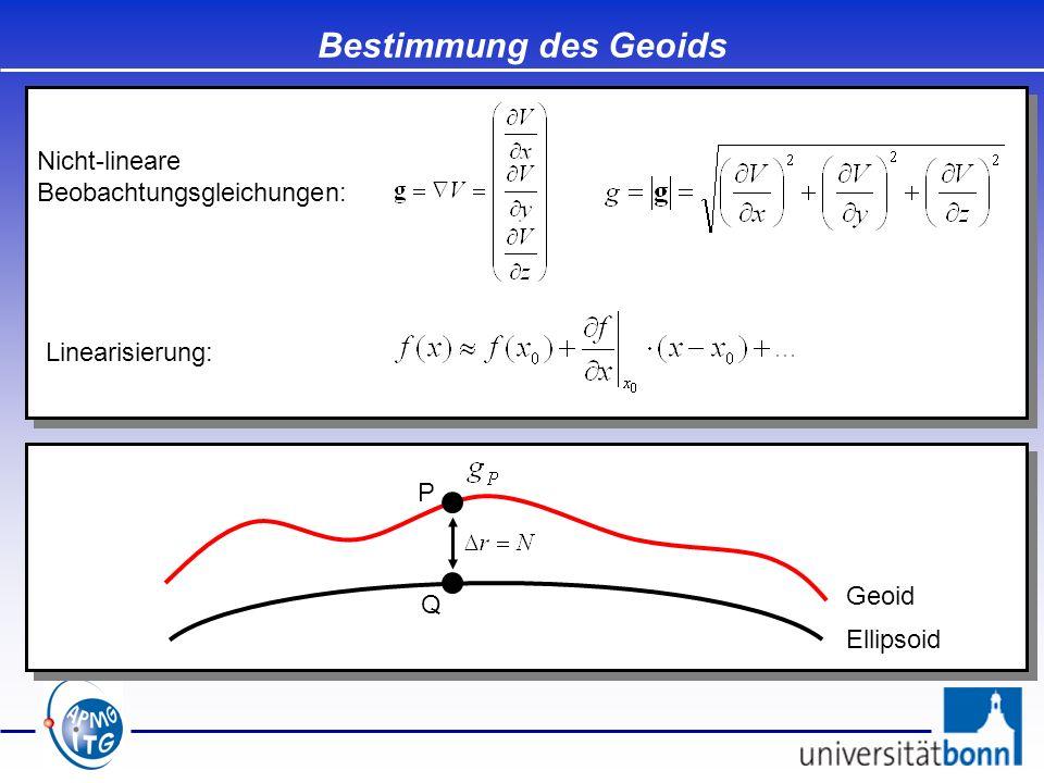 Bestimmung des Geoids Nicht-lineare Beobachtungsgleichungen: