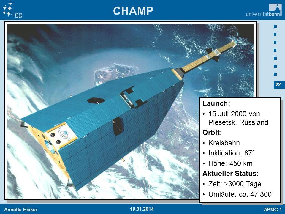 CHAMP Launch: 15 Juli 2000 von Plesetsk, Russland Orbit: Kreisbahn