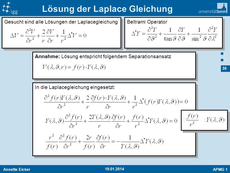Lösung der Laplace Gleichung