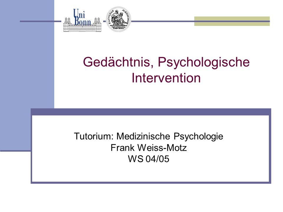 Gedächtnis, Psychologische Intervention