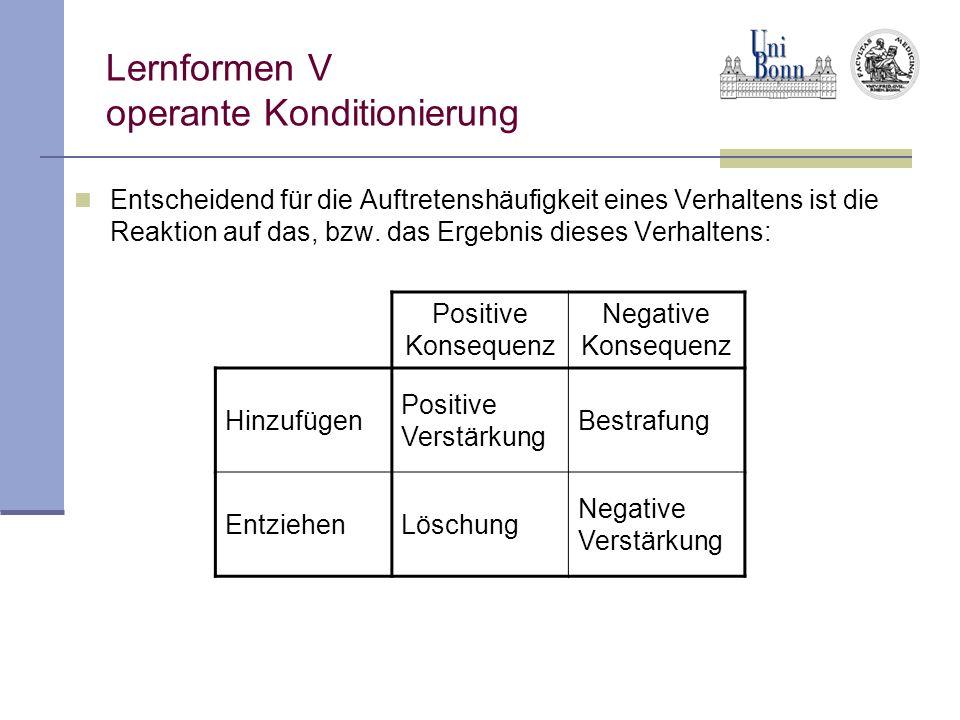 Lernformen V operante Konditionierung