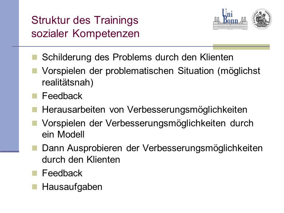Struktur des Trainings sozialer Kompetenzen