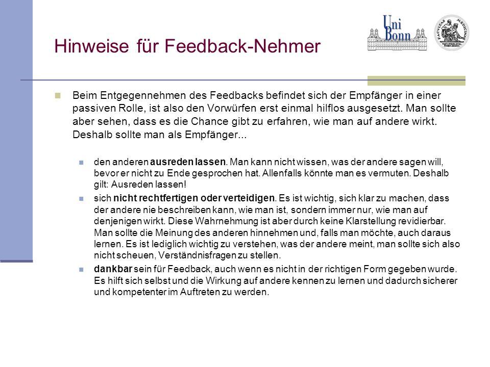 Hinweise für Feedback-Nehmer
