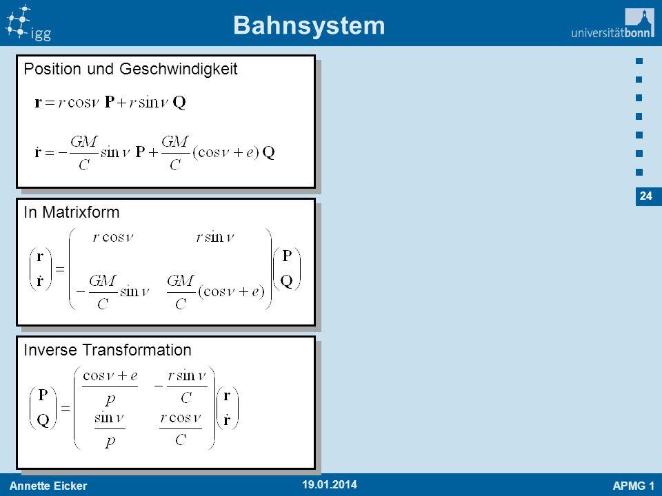 Bahnsystem Position und Geschwindigkeit In Matrixform
