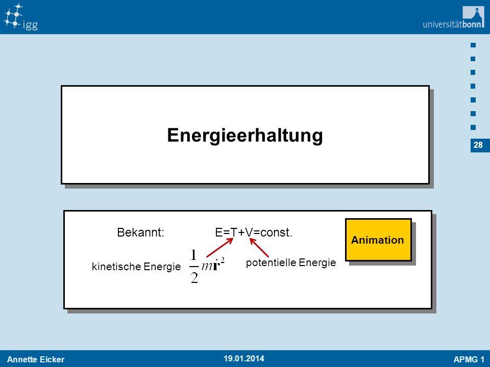 Energieerhaltung Bekannt: E=T+V=const. Animation potentielle Energie