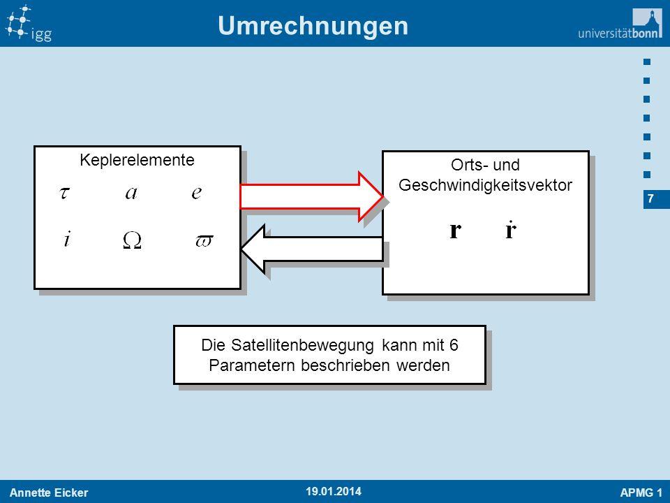 Umrechnungen Keplerelemente Orts- und Geschwindigkeitsvektor