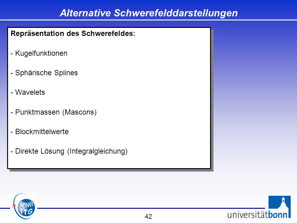 Alternative Schwerefelddarstellungen