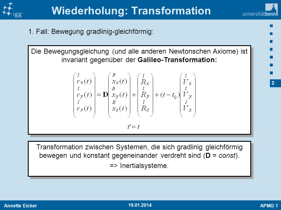 Wiederholung: Transformation