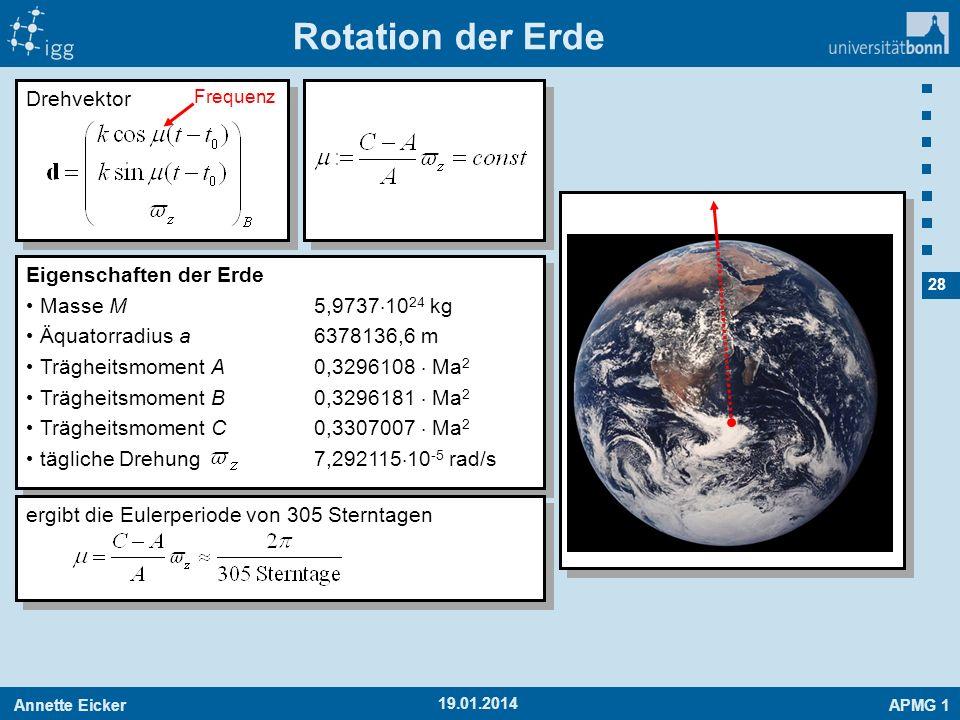 Rotation der Erde Drehvektor Eigenschaften der Erde