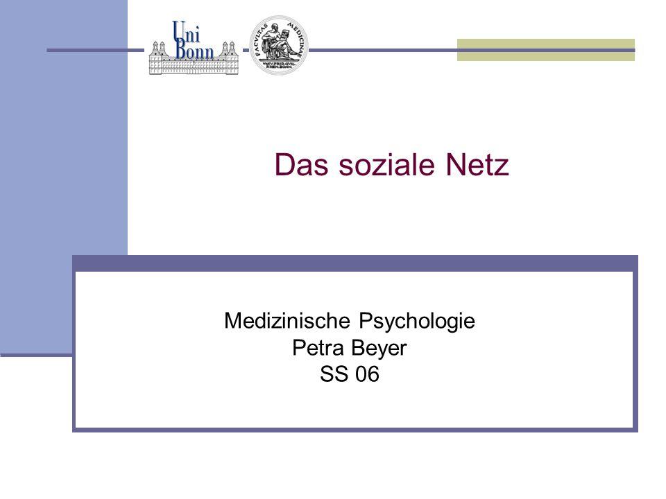 Medizinische Psychologie Petra Beyer SS 06