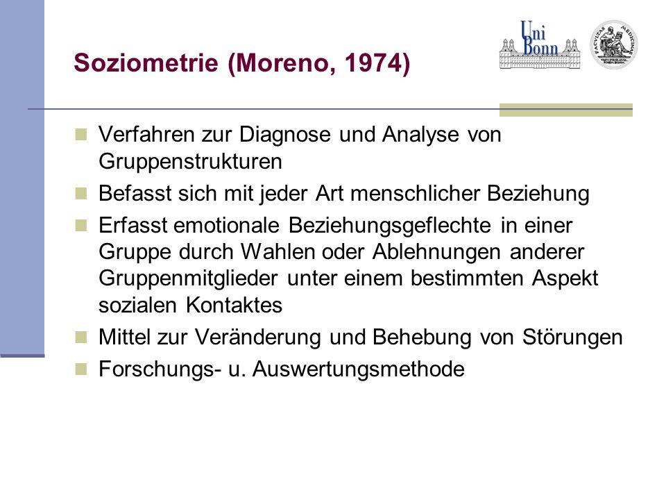 Soziometrie (Moreno, 1974)Verfahren zur Diagnose und Analyse von Gruppenstrukturen. Befasst sich mit jeder Art menschlicher Beziehung.