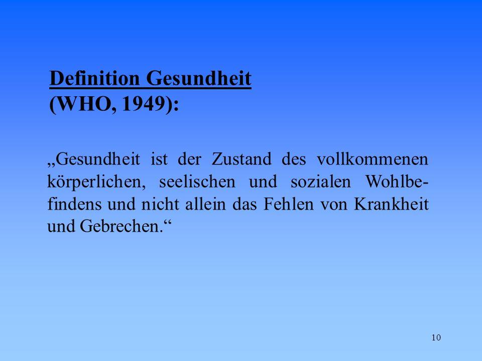Definition Gesundheit (WHO, 1949):