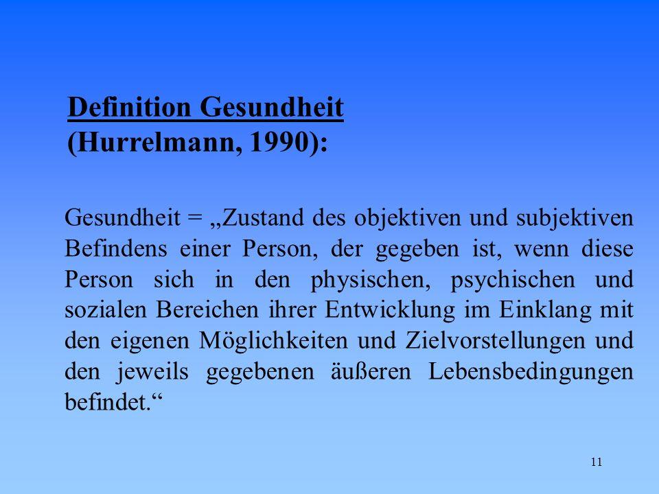 Definition Gesundheit (Hurrelmann, 1990):