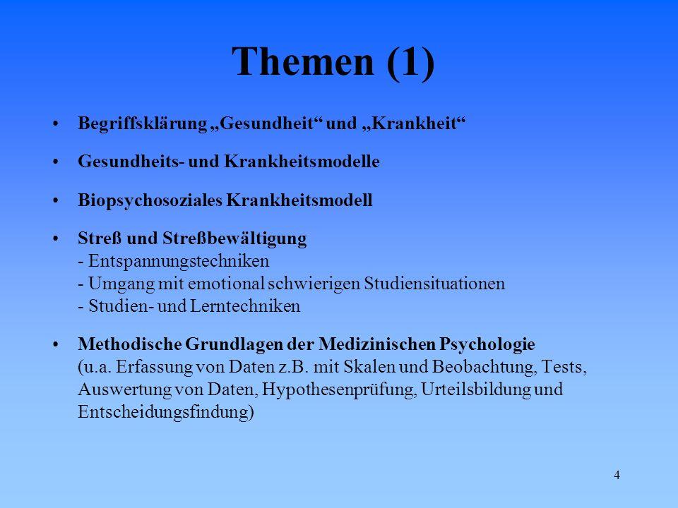 """Themen (1) Begriffsklärung """"Gesundheit und """"Krankheit"""