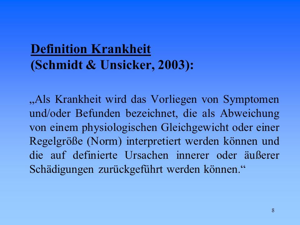 Definition Krankheit (Schmidt & Unsicker, 2003):