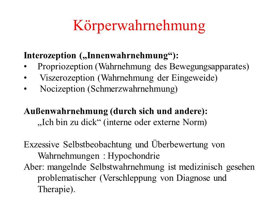 """Körperwahrnehmung Interozeption (""""Innenwahrnehmung ):"""