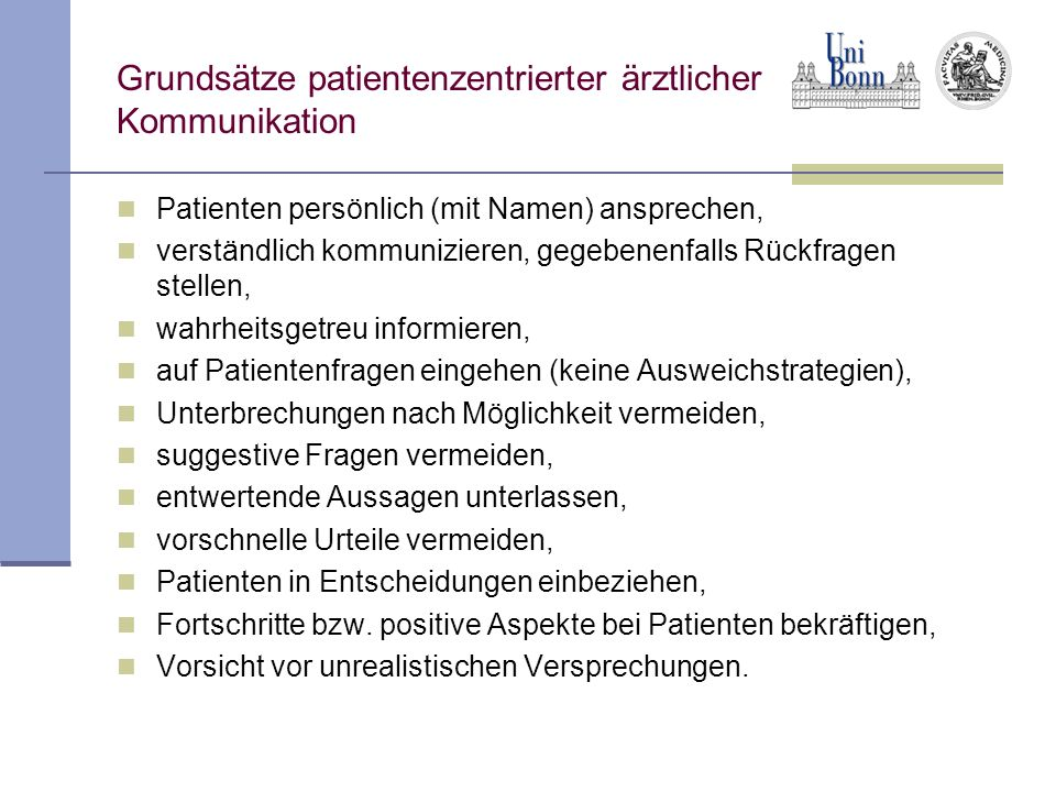 Grundsätze patientenzentrierter ärztlicher Kommunikation