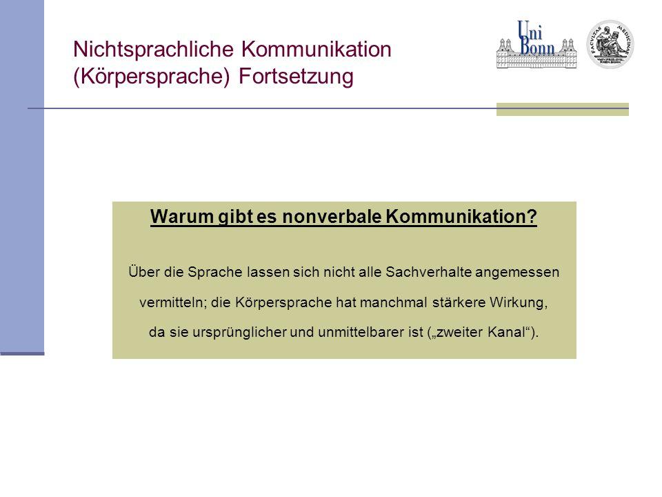 Nichtsprachliche Kommunikation (Körpersprache) Fortsetzung