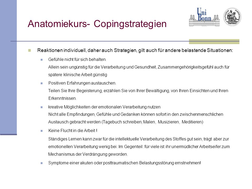 Anatomiekurs- Copingstrategien