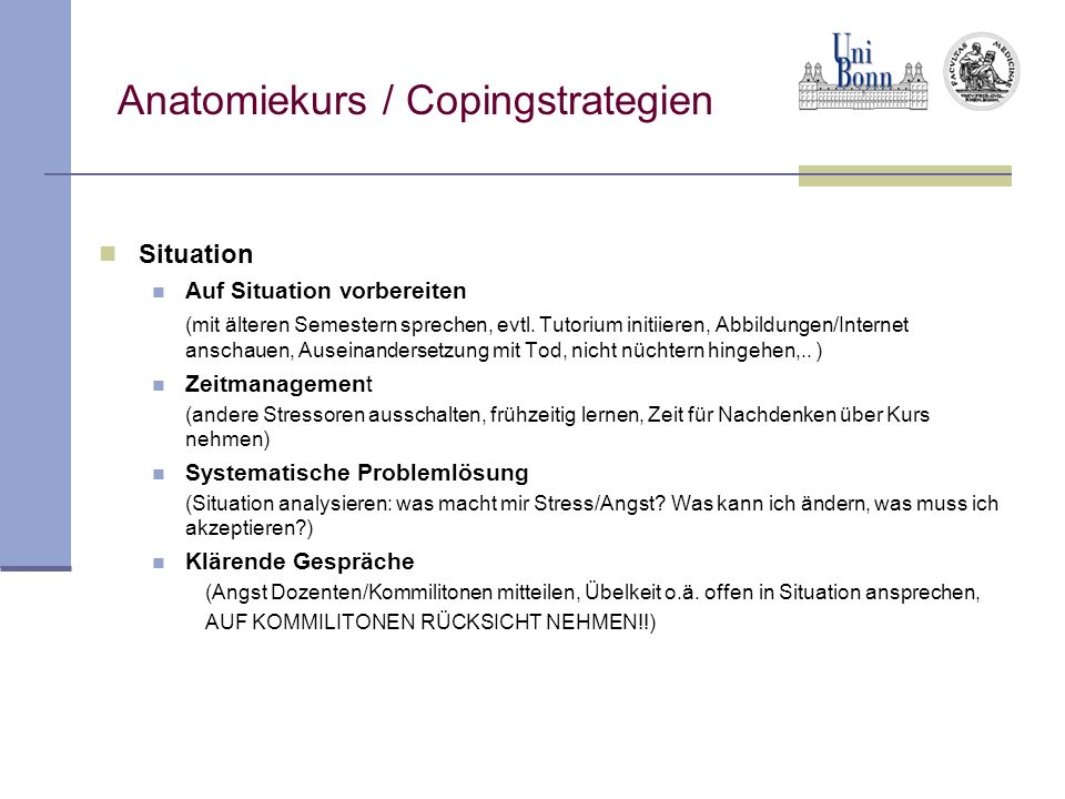 Anatomiekurs / Copingstrategien