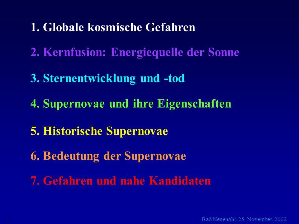 1. Globale kosmische Gefahren
