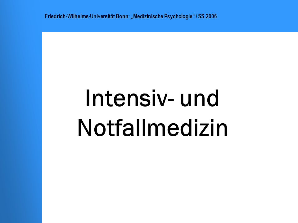 Intensiv- und Notfallmedizin