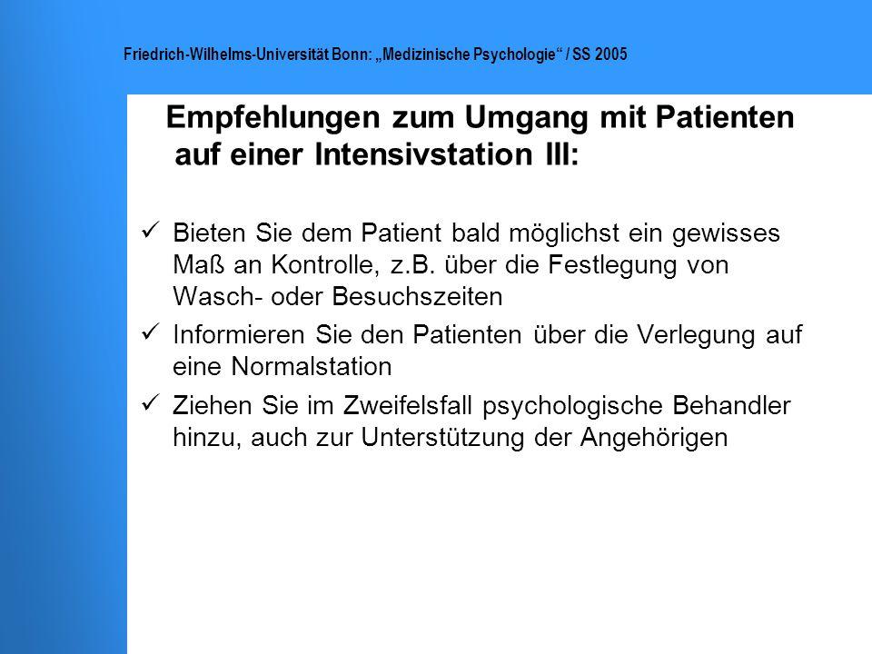 Empfehlungen zum Umgang mit Patienten auf einer Intensivstation III: