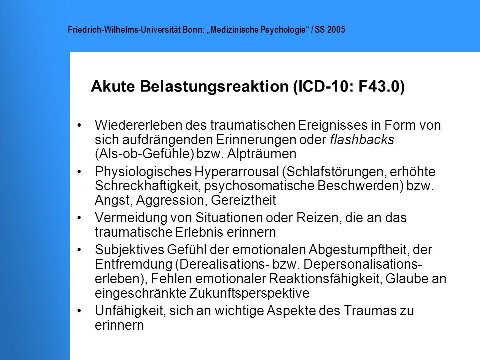Akute Belastungsreaktion (ICD-10: F43.0)