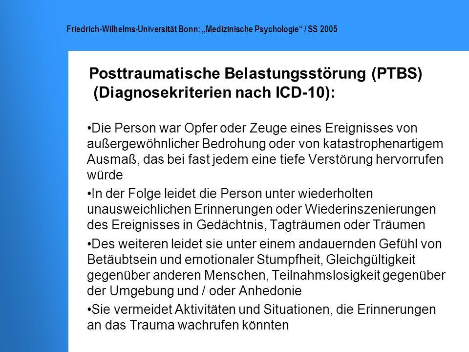 Posttraumatische Belastungsstörung (PTBS) (Diagnosekriterien nach ICD-10):