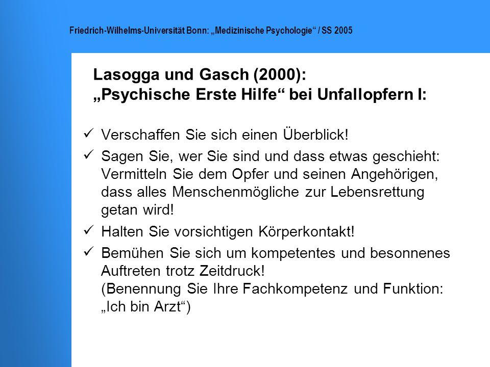 """Lasogga und Gasch (2000): """"Psychische Erste Hilfe bei Unfallopfern I:"""
