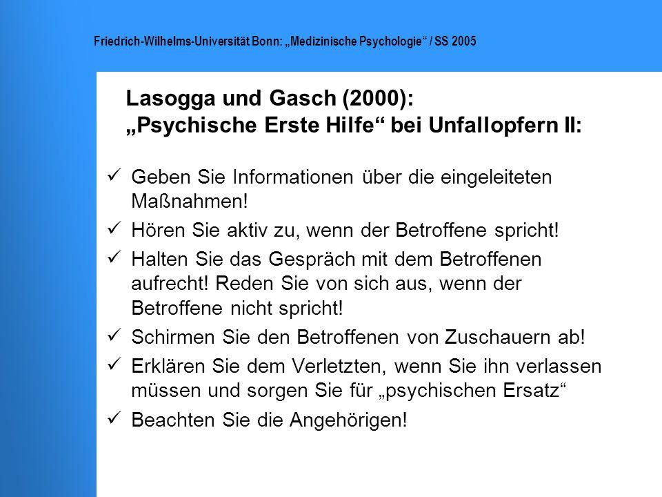 """Lasogga und Gasch (2000): """"Psychische Erste Hilfe bei Unfallopfern II:"""