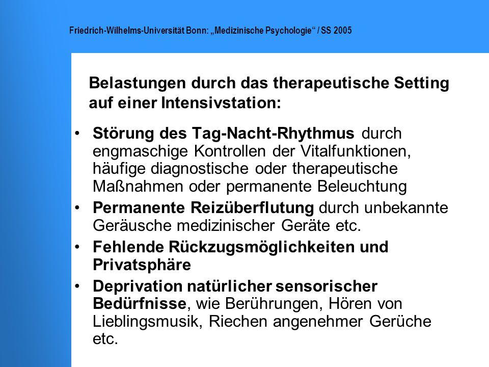 Belastungen durch das therapeutische Setting auf einer Intensivstation: